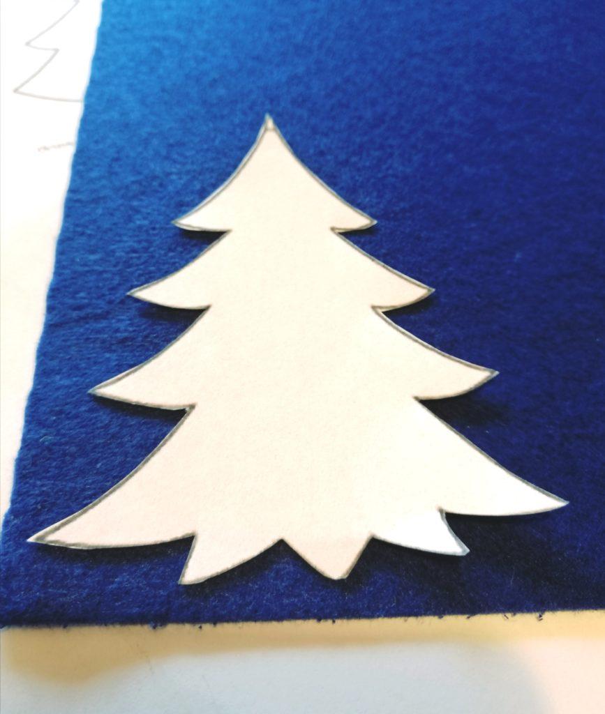Uzorak božićnog drvca za izrezivanje filca