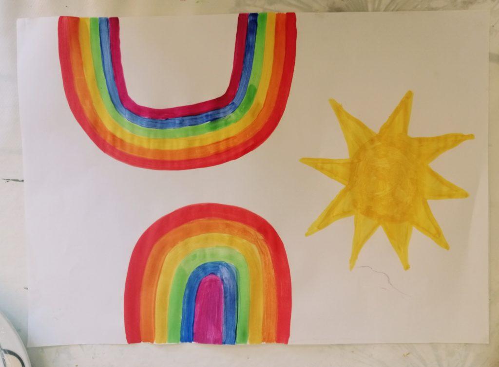 Nacrtana duga i sunce koje ćemo izrezati